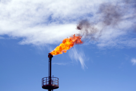 indutry: Gas flame torch on a oil refinery plant. Oil indutry. Gas refinery plant Stock Photo