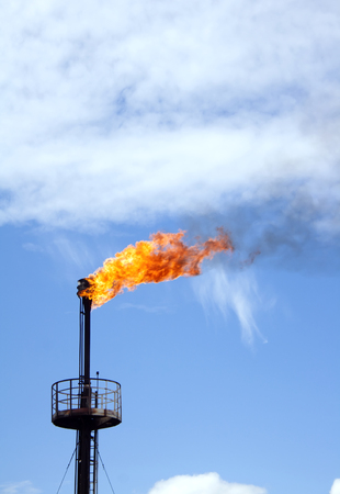 gas industry: Gas station. Refinery plant. Oil industry. Flaming gas torch