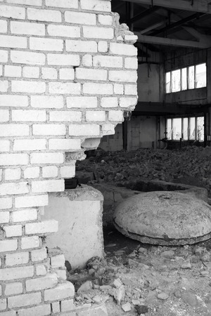 bombing: Plant after bombing. Black and white photo