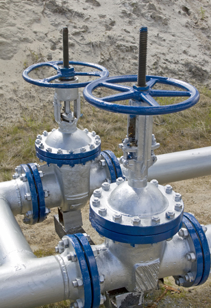 oil and gas industry: Oil latch on a pipeline . Refinery plant. Gas industry. Oil industry. Gas transit