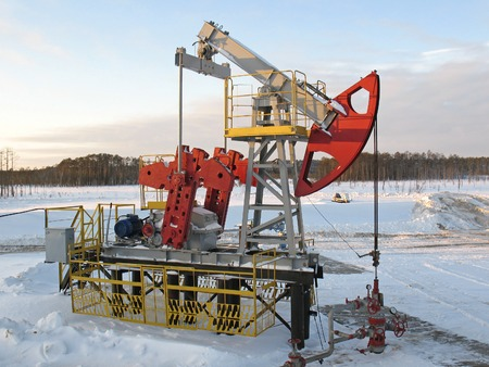 Oil industry. Industrial construction and mechanism. Winter oil field.