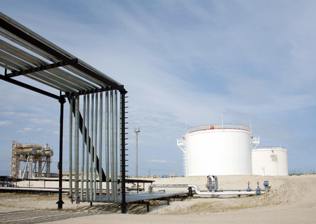 Oil reservoir. Oil and gas refinery plant. Industrial scene refinery plant. Gas station Stock Photo