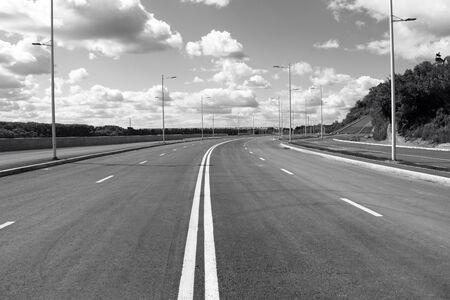 Empty street in big town. Black and white photo. Ufa city Stock Photo