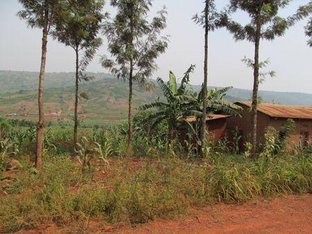 Rwandan countryside with house