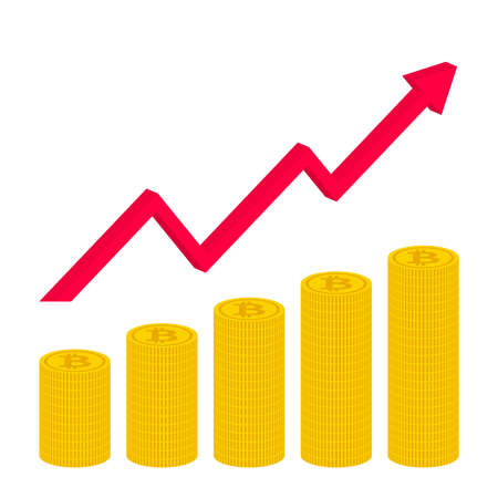 stacked bitcoins illustration clip art Rising bitcoin