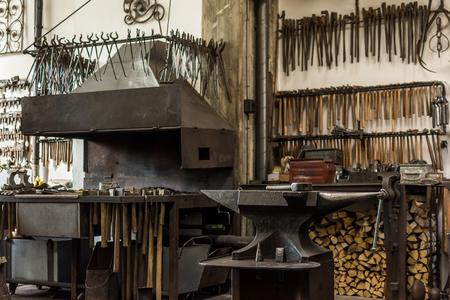 forging furnace in workshop Archivio Fotografico