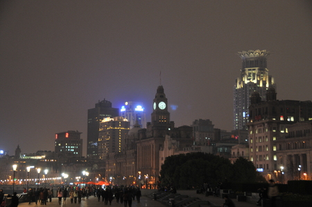 Landscape of buildings in Shanghai at the night