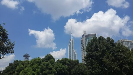 the natural phenomena: Shanghai building with blue skies
