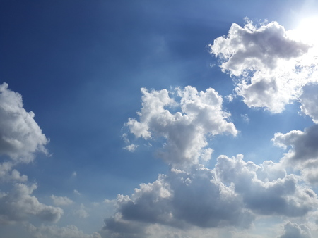 the natural phenomena: blue sky and white clouds