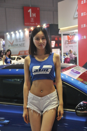 malfunction: Shanghai International Automobile fair, cars, beauty shows long legs small waists. Editorial