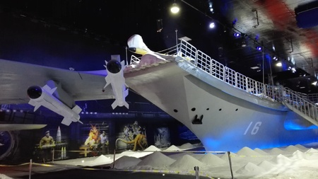 ice sculpture: Hengdian Film City: new ice sculpture, Liaoning ship aircraft carrier Editorial