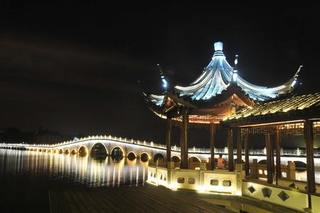 Zhouzhuang ancient bridge at night