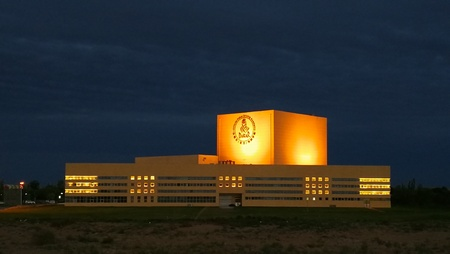 Night view of a building in Kubuqi Desert in Chinese seven Lake