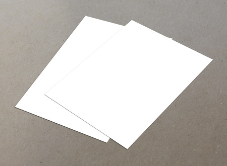 Blank white paper A4 flyer collection on floor