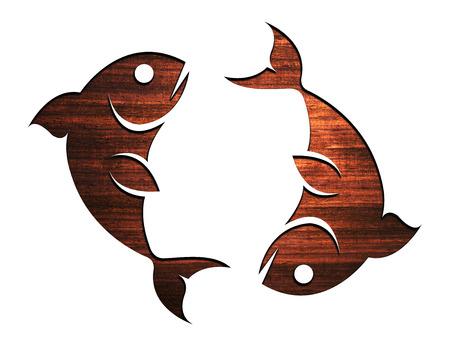 Wooden Zodiac Symbol, sign - Pisces 2 photo