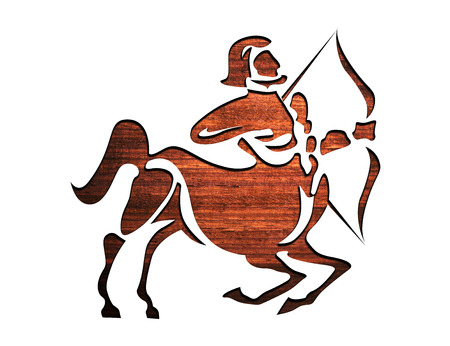 Wooden Zodiac Symbol, sign - Sagittarius photo