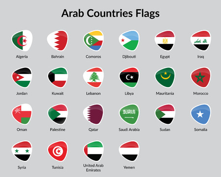 all european flags: Arabic countries flag Badge illustration Illustration
