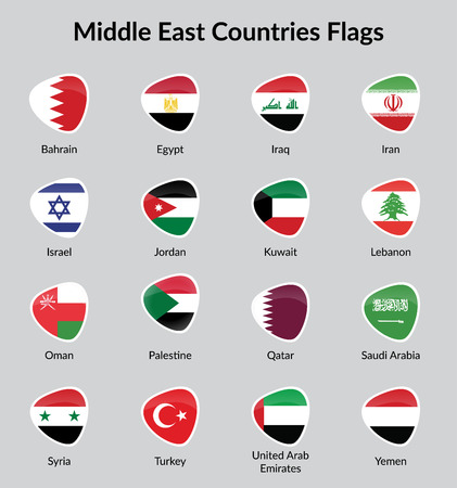all european flags: Middle East countries flags Badge illustration Illustration
