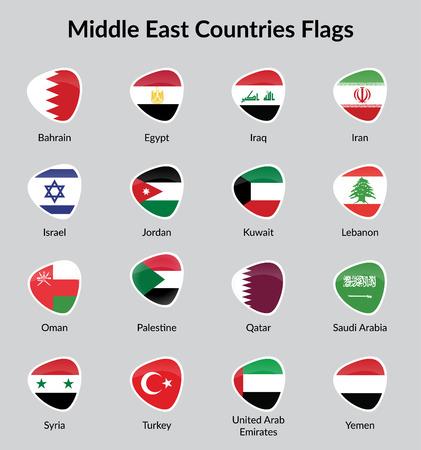 Moyen-Orient drapeaux de pays Badge illustration