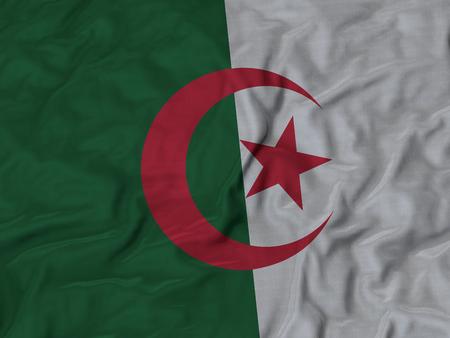 ? Closeup of Ruffled Algeria Flag, Algeria Flag Blowing in Wind Stock Photo