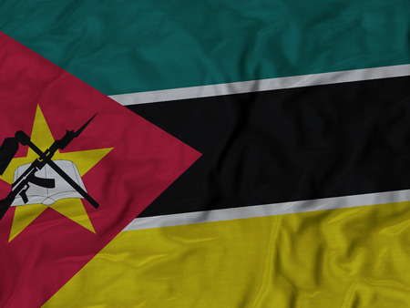 Closeup of Ruffled Mozambique Flag, Mozambique Flag Blowing in Wind