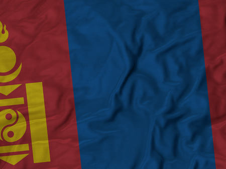 mongols: Closeup of Ruffled Mongolia Flag Stock Photo