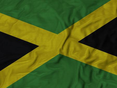 Closeup of Ruffled  Jamaica Flag Stock Photo