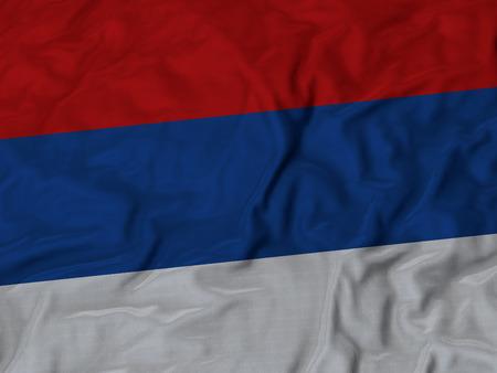 ruffled: Closeup of ruffled RepublikaSrpska flag, Ruffled flag background Stock Photo
