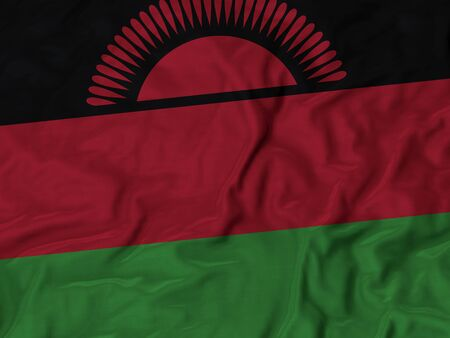 malawi flag: Closeup of ruffled Malawi flag, Ruffled flag background Stock Photo