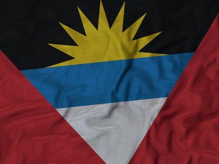 ruffled: Closeup of ruffled Antigua and Barbuda flag, Ruffled flag background