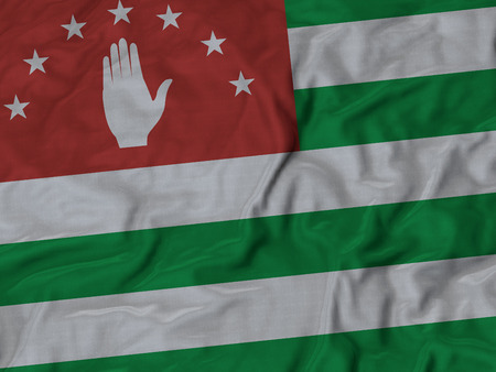 ruffled: Closeup of ruffled Abkhazia flag, Ruffled flag background
