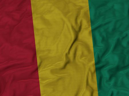 ruffled: Closeup of ruffled Guinea flag, Ruffled flag background.