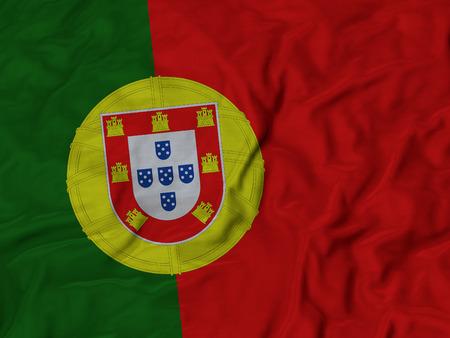 drapeau portugal: Gros plan de ébouriffé drapeau du Portugal, à jabot fond de drapeau.