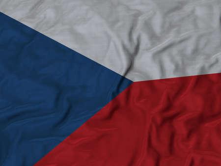 ruffled: Closeup of ruffled Czech Republic flag, Ruffled flag background. Stock Photo
