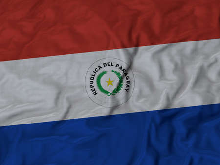 ruffled: Closeup of ruffled Paraguay flag, Ruffled flag background.