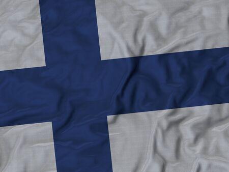 ruffled: Closeup of ruffled Finland flag, Ruffled flag background. Stock Photo