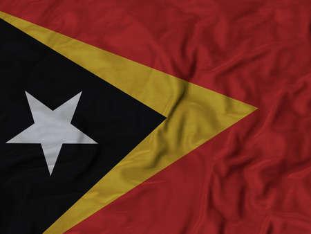 ruffled: Closeup of ruffled East Timor flag, Ruffled flag background.