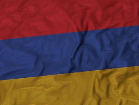 ruffled: Closeup of ruffled Armenia flag, Ruffled flag background.