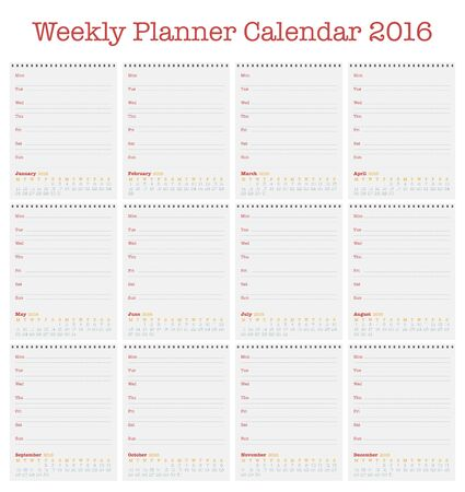 weekly planner: Calendar for 2016. Weekly planner for year 2016, Simple Vector Template, Set of 12 Months