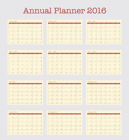 meses del año: Calendario del cartel de 2016. Planificador anual para el año 2016 simple plantilla de vectores, conjunto de 12 meses,