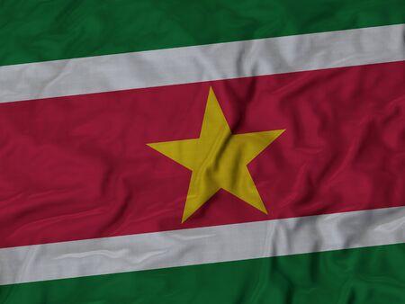 ruffled: Closeup of Ruffled Suriname flag, Fabric Ruffled Flag Background.