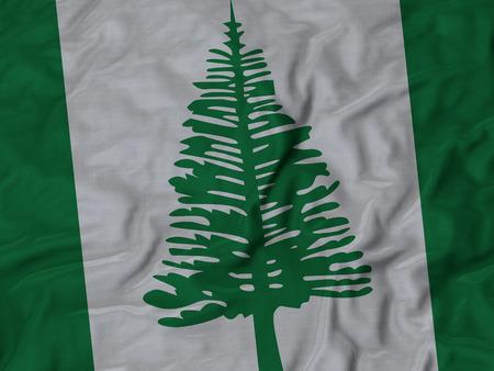 ruffled: Closeup of Ruffled Norfolk Island flag, Fabric Ruffled Flag Background.