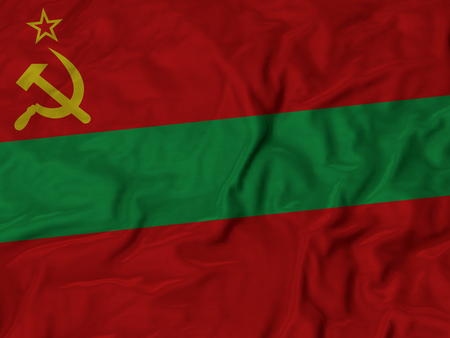 ruffled: Closeup of Ruffled Transnistria flag, Fabric Ruffled Flag Background.