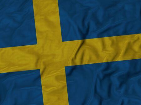 bandera suecia: Primer plano de volantes bandera de Suecia, Fondo Tela Bandera rizado.