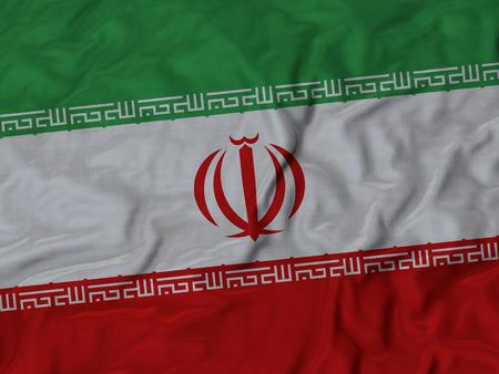 ruffled: Closeup of Ruffled Iran flag, Fabric Ruffled Flag Background.