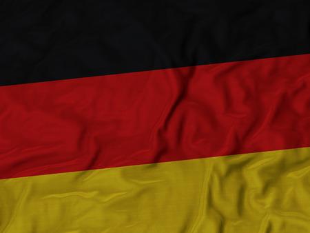 ruffled: Closeup of Ruffled Germany flag, Fabric Ruffled Flag Background.