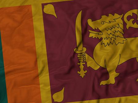 ruffled: Closeup of Ruffled Sri Lanka flag, Fabric Ruffled Flag Background.