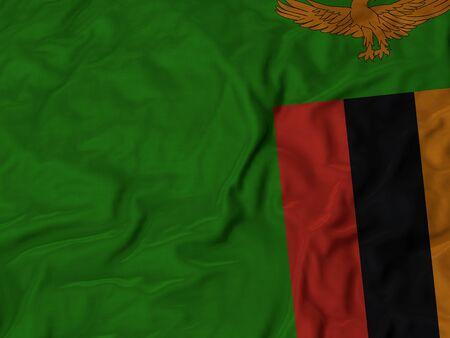 zambia flag: Closeup of Ruffled Zambia flag, Fabric Ruffled Flag Background.