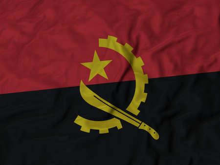 ruffled: Closeup of Ruffled Angola flag, Fabric Ruffled Flag Background.