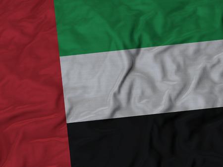 arab flags: Closeup of Ruffled United Arab Emirates flag, Fabric Ruffled Flag Background. Stock Photo